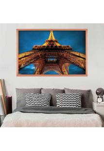 Quadro Love Decor Com Moldura Torre Eiffel La Nuit Rose Metalizado Médio
