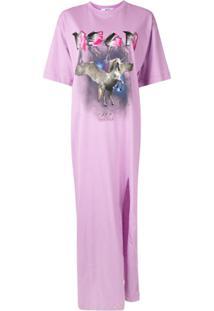 Msgm Vestido Reto Com Estampa Gráfica - Roxo