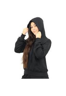 Blusa Moletom Feminino C- Capuz Cordão Bolso Inverno Flanela