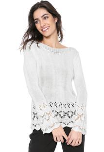 Suéter Mercatto Tricot Recortes Off-White