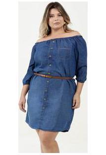 Vestido Feminino Jeans Ombro A Ombro Plus Size