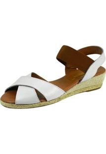 Sandália Anabela S2 Shoes Lorena Off White E Caramelo