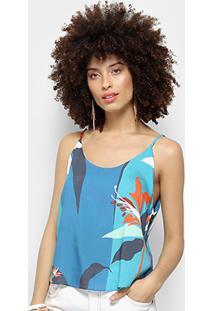 Blusa Morena Rosa Decote Redondo Feminina - Feminino-Azul Royal+Laranja