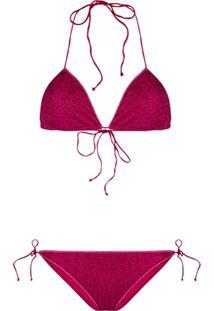 Oseree Metallic Lurex Bikini Set - Rosa