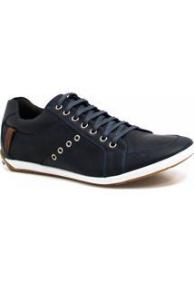 Sapatênis Casual Zariff Shoes Couro Azul