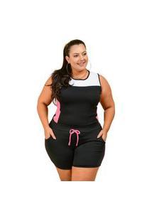 Conjunto Summer Body Short E Regata Plus Size Preto Com Rosa Chiclete