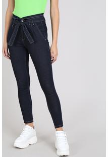 Calça Jeans Feminina Sawary Skinny Clochard Azul Escuro