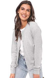 Cardigan Facinelli By Mooncity Tricot Liso Cinza