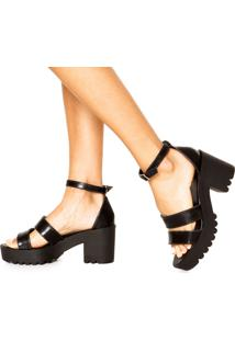 Sandália Dafiti Shoes Tratorada Tiras Preta