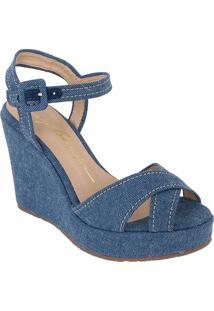 Sandália Anabela Jeans- Azul- Salto: 10,5Cmluiza Barcelos