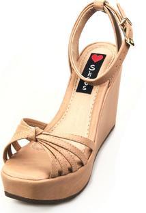 Sandália Anabela Love Shoes Alta Tiras Nó Bege