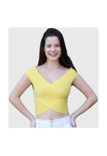 Blusa Cropped D Bell Amarelo