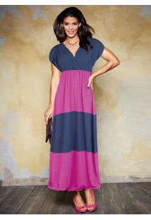 Vestido Longo Azul/Rosa