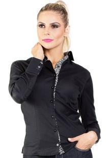 Camisa Carlos Brusman Feminina Slim - Feminino-Preto