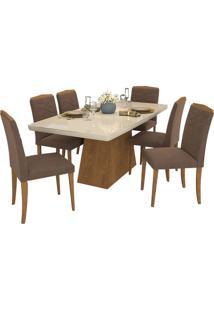 Sala De Jantar Helen 180 Cm Com 6 Cadeiras Savana/Off White Savana/Off White