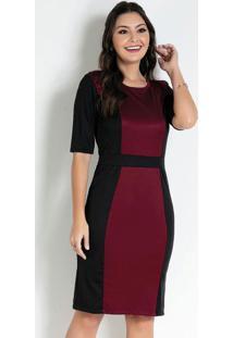 Vestido Com Recortes Bordô/Preto Moda Evangélica