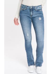 Calça Jeans Feminina Five Pockets Kick Flare Cintura Média Azul Claro Calvin Klein - 34