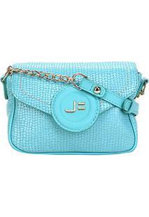 Bolsa Couro Clutch Jorge Bischoff Mini Bag Croco Feminina - Feminino-Azul Piscina