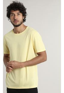Camiseta Masculina Básica Manga Curta Gola Careca Amarela