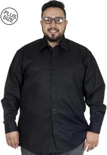 Camisa Plus Size Bigshirts Manga Longa Lisa Elastano - Preta