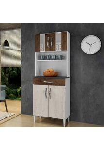 Armário De Cozinha Milão Nevada/Cacau 4 Portas 1 Gavetão - Arte Móveis