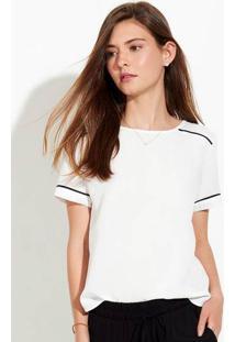 Blusa Feminina Em Tecido De Viscose Com Linhas Contrastantes