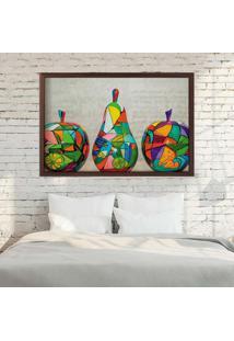 Quadro Love Decor Com Moldura Frutas Em Pop Art Madeira Escura Médio