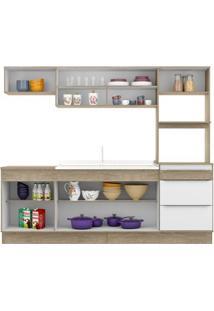 Cozinha Compacta Decibal Slim Cs673R 7 Portas E 3 Gavetas - Acácia/Branco