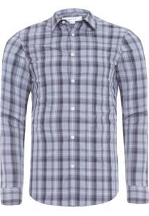 Camisa Masculina Slim Maxi Xadrez - Cinza