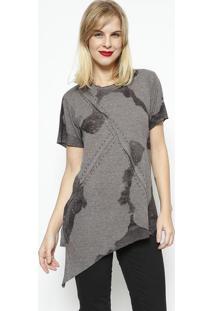 Camiseta Assimétrica Com Rebites- Cinza Escuro & Pretadimy