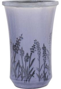 Vaso Ceramica C/ Flores Roxo Gr