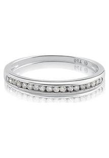 Meia Aliança Ouro Branco Com 10,5 Pontos De Diamantes