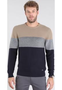 Suéter Masculino Em Tricô Listrado Gola Redonda Bege