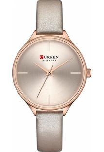 Relógio Curren Analógico C9062L - Bege - Tricae