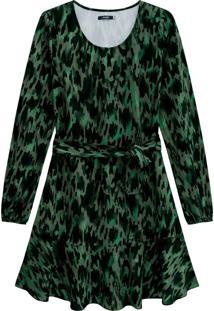 Vestido Verde Escuro Evasê Estampado