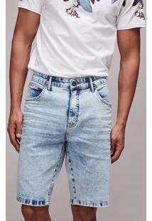 Bermuda Jeans Masculina Slim Com Bolsos Azul Claro