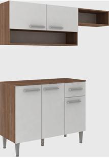 Cozinha Modulada C/ Tampo Madri 5 Portas Teka/Branco Fellicci Mã³Veis - Branco - Dafiti
