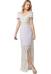Vestido Mx Fashion Longo De Renda Doraline Off White