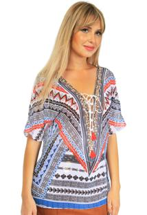 Blusa 101 Resort Wear Tunica Crepe Estampada Geometrico Branca