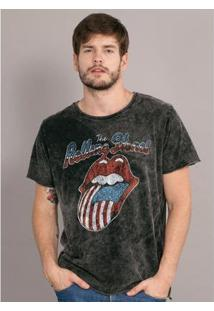 Camiseta Bandup Marmorizada The Rolling Stones Usa Flag - Masculino-Preto