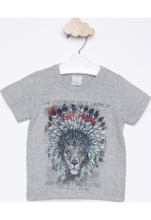"""Camiseta """"The Legendary Great Warrior"""" - Cinza & Azul Mamalwee"""