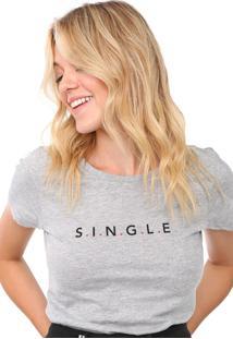 Camiseta Only Reta Lettering Cinza