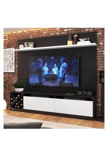 """Painel Home Para Tv 60"""" Com 2 Portas Preto E Branco Lilies Móveis"""