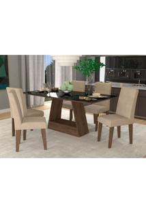 Conjunto De Mesa De Jantar Retangular Alana Com 6 Cadeiras Milena Suede Bege E Preto