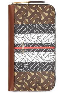Burberry Carteira Monogramada E-Canvas Com Zíper - Marrom