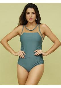 Body Com Tule- Verde & Bege- Mos Beach Wearmos Beach Wear