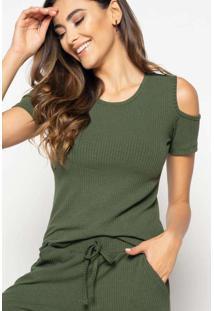 Blusa Ombro Vazado Manga Curta Canelado Verde