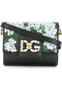 Dolce & Gabbana Bolsa Tiracolo 'Dg Millennials' Estampada De Couro - Preto