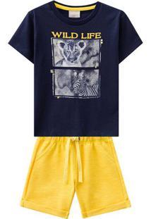 "Conjunto De Camiseta ""Wild Life"" + Bermuda Com Bolsos- Amilon"