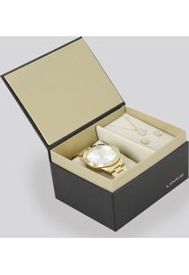 Kit De Relógio Analógico Lince Feminino + Colar + Brinco - Lrg4367L-K187S2Kx Dourado - Único